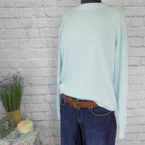 Soft Blue Green Vintage Oversize Crew Neck Sweater